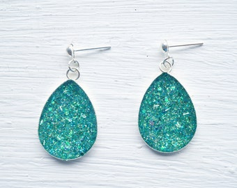 Teal Green Teardrop Resin Glitter Earrings
