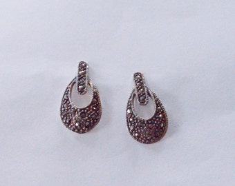 SALE Vintage Sterling Silver Marcasite Modern Pierced Earrings