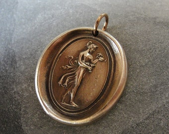 Hebe wax seal charm - Goddess of Youth - antique wax seal jewelry after Antonio Canova