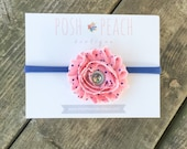 Pink & Navy Polka Dot Flower Elastic Headband