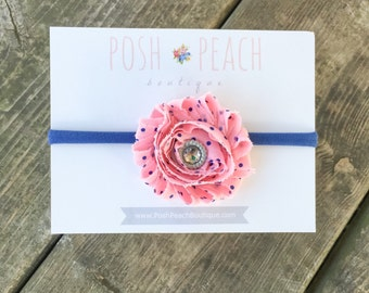 Pink & Navy Polka Dot Flower Elastic Headband