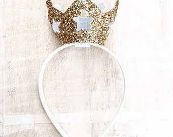 Princess gold glitter crown headband