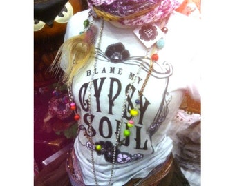 Gypsy Soul, MEDIUM, Blame my Gypsy Soul, Gypsy shirt, White, Grey, Gypsy Boho, shirt