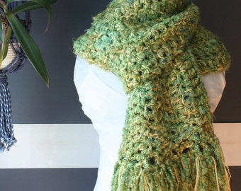 Crochet Scarf,Blanket Scarf,Oversized Scarf,Chunky Knit Scarf,Cowl Scarf,Unisex Clothing,Mens Scarf,Womens Scarves,Fringe,Yellow,Green,Blue