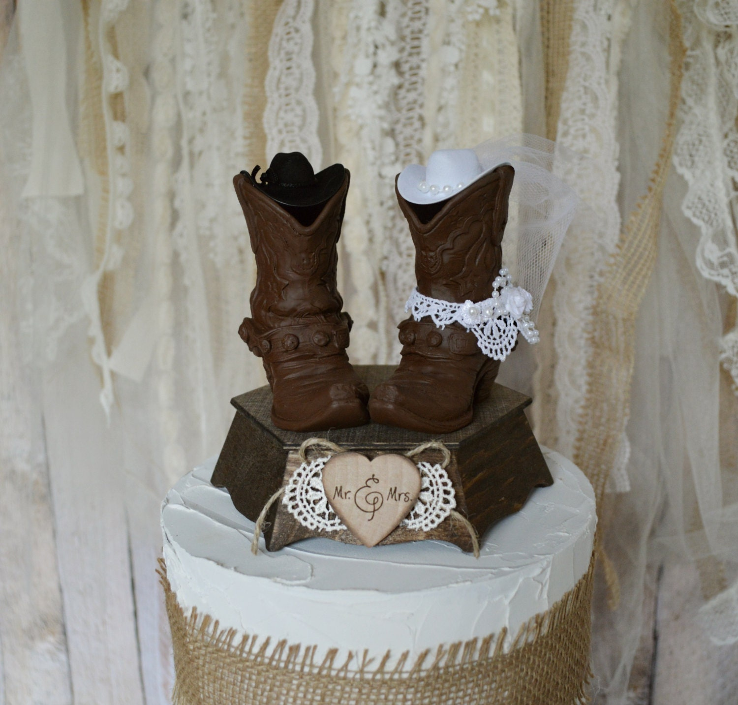 Wedding Cowboy Boots: Mr And Mrs Cowboy Boots Wedding Cake Topper Bride And Groom