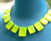 lime green square necklace