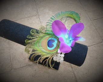 Galaxy orchid peacock feather wrist corsage, purple blue orchid corsage with pearl wristelt