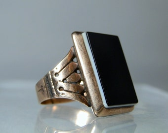Antique Ring Victorian 14k Rose Gold Black Glass Ring Size 7.5 Black Over White Glass 6.69 grams Fine Jewelry DanPickedMinerals