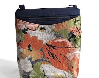 Satiny Tapestry Upholstery Fabric Crossbody Sling Bag, Adjustable Shoulder Strap, Gusseted pocket for Kindle/iPad Mini, Bag Charm, slpkz031