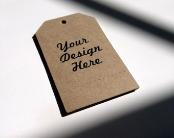 Brown Tags Personalized for Retail Price Tags Merchandise Tags or Handmade Gifts - Set of 100 - Perforated
