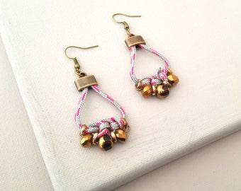 Grey and Oldgold Drop Earrings, Tribal Rope Dangle Earrings, Chandelier Earrings