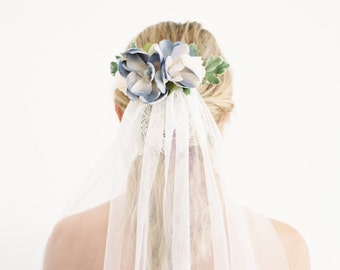 The Serenity Floral Comb inspired by the 2016 Pantone Colors created with Blue Magnolias, Ivory Blossoms and Greenery