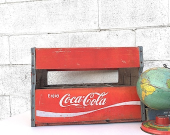 COCA-COLA CRATE | Wooden Soda Crate | Vintage Coke Crate | Wood Delivery Crate | Rare, Tall Bottle Crate | 1950's Coca Cola Advertising