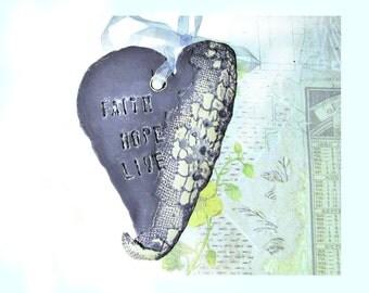 FAITH HOPE LIVE , Ceramic Heart, Wall Heart, Wall Decor Heart, Cay Heart, pottery heart,    # 81