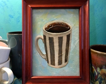 Cup of Coffee Original Framed Painting