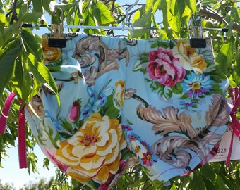 Super Cute ruched floral girl shorts, size 2, size 4, blue floral, pink floral, blue and pink flowers