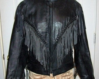 Vintage Ladies Black Fringed Leather Motorcycle Jacket Small Only 38 USD
