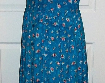 Vintage Ladies Blue Floral Print Dress by Fads Size 8 Only 8 USD