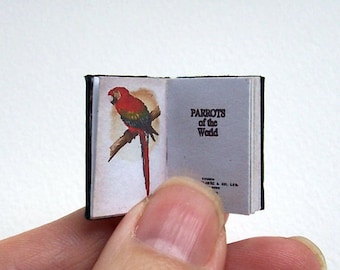 Dolls' House Miniature Book - Parrots of the World (leather bound)