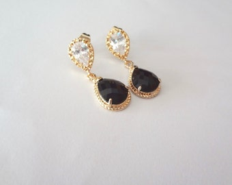 Gold and black earrings - Jet black earrings ~ Czech glass ~ Cubic Zirconia - 14k gold over sterling posts,Teardrops, Bridesmaids - Gift