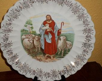 "Beautiful Jesus with Sheep/GOOD SHEPHERD 9"" Plate/ 23K Gold Trim/Scallop Edge/Tennessee"