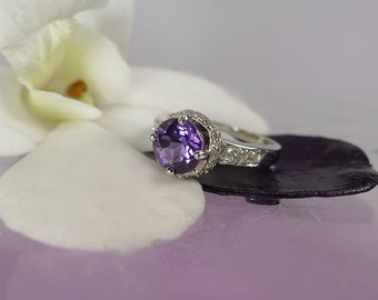 Purple Amethyst Ring, Amethyst Ring, Silver Amethyst Ring, February Birthstone, Gemstone Ring, Natural Amethyst Ring