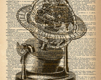 Dictionary Art Print - Vintage Globe - Upcycled Vintage Dictionary Page Poster Print - Size 8x10