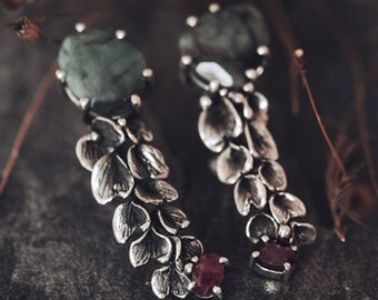 Emerald & Ruby mismatched Silver Earrings - statement, bohemian, rustic wedding, african ruby