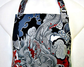 Apron Mans, DRAGONS in Steel Grey, Red & Black, Oriental FIRE Breathing Dragons, BBQ Grill Unique Kitchen Gift