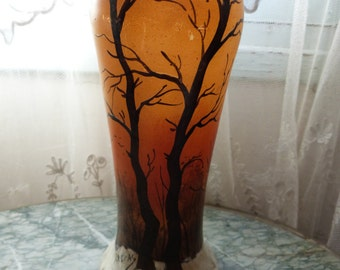 Antique French Legras vase ArtNouveau signed enameled handpainted glass vase art nouveau vase w trees and snow landscape French home decor