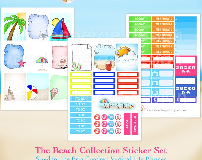 The Beach Collection- Weekly Planner Sticker Kit for Erin Condren Life Planner or The MAMBI Happy Planner