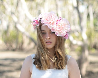 Peony Girl - floral crown.  Flower crown/hair circlet large and luscious pale pink peonies, pink roses and orchids.