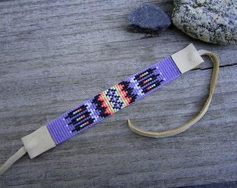 Purple Neon Seed Beaded Bracelet, Loom Beaded Bracelet with Deerskin Leather Ties