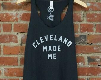 Racerback SUPER SOFT Vintage Feel Tank - 'Cleveland Made Me' on TriBlend Solid Dark Grey