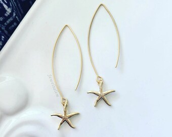 Star Fish Earrings Gold Starfish Dangling Earrings Modern Chic Jewelry Outdoor Beach Wedding Bridesmaids Earrings Gift Gold Star Jewellery