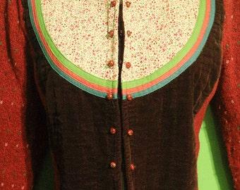 Vintage 90s Womens Patchwork Wool Cardigan Petite Large Medium Velvet Knit Sweater Boho Indie Hipster Garden