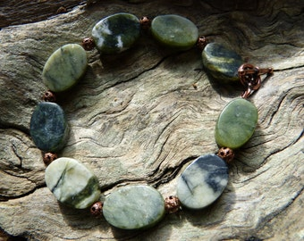 Serpentine and Copper Bracelet