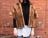 vintage Mink Stole 1960s Honey beige fur wrap wedding capelet Luxurious genuine fur