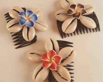 Plumeria Cowrie Shell Hair Comb - Black with Blue, Brown or Red