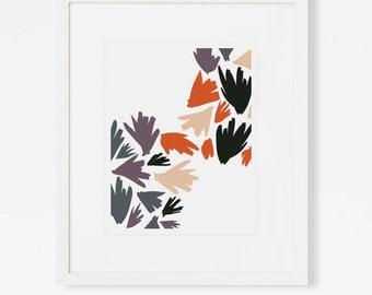 Abstract Leaf Art Print - Modern Botanical Wall Art - Graphic Nature Artwork - Vertical or Horizontal - 5x7, 8x10, 11x14, 16x20, 18x24