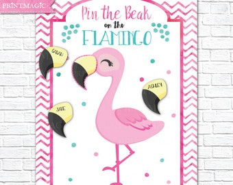Pin the Beak on the Flamingo Printable Party Game - 3 Poster Sizes - Flamingo Birthday Party Game - Flamingo Party Game - Instant Download
