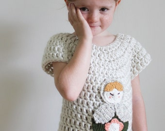 Crochet Pattern: The Mathilde Sweater -Child 2-3T, 4-5T, 6-7, 8-10 Sizes-pull over, matryoshka, simple, doll