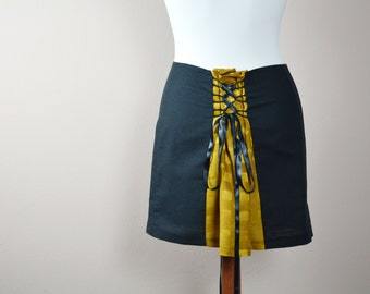 Mustard black mini skirt, corset skirt, linen skirt, black skirt, womens skirt, womens clothing