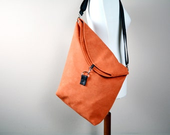 Rusty orange shoulder bag, orange bag, faux suede bag,tote bag,handbag,bohemian bag,cross shoulder bag