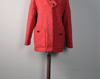 Wool coat, Winter coat,Red coat, Wool coat women, Womens clothing, asymmetrical coat, Winter fashion, Gift for her, Long jacket, Blazer
