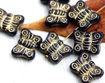 8pc Butterfly beads, Dark blue glass beads, golden inlays, gold washed, czech glass, butterflies - 2428
