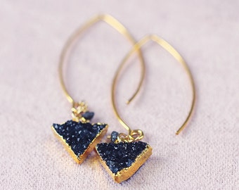 Black Druzy and Diamond Earrings - Geometric Gemstone Earrings - Modern Black Druzy Earrings