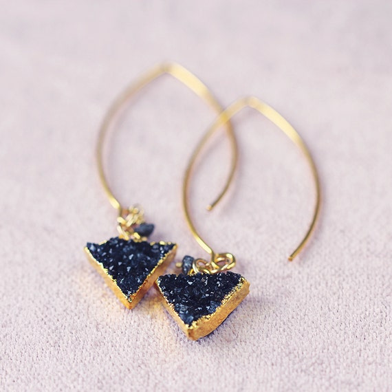 Black Druzy & Diamond Earrings - Modern Earrings