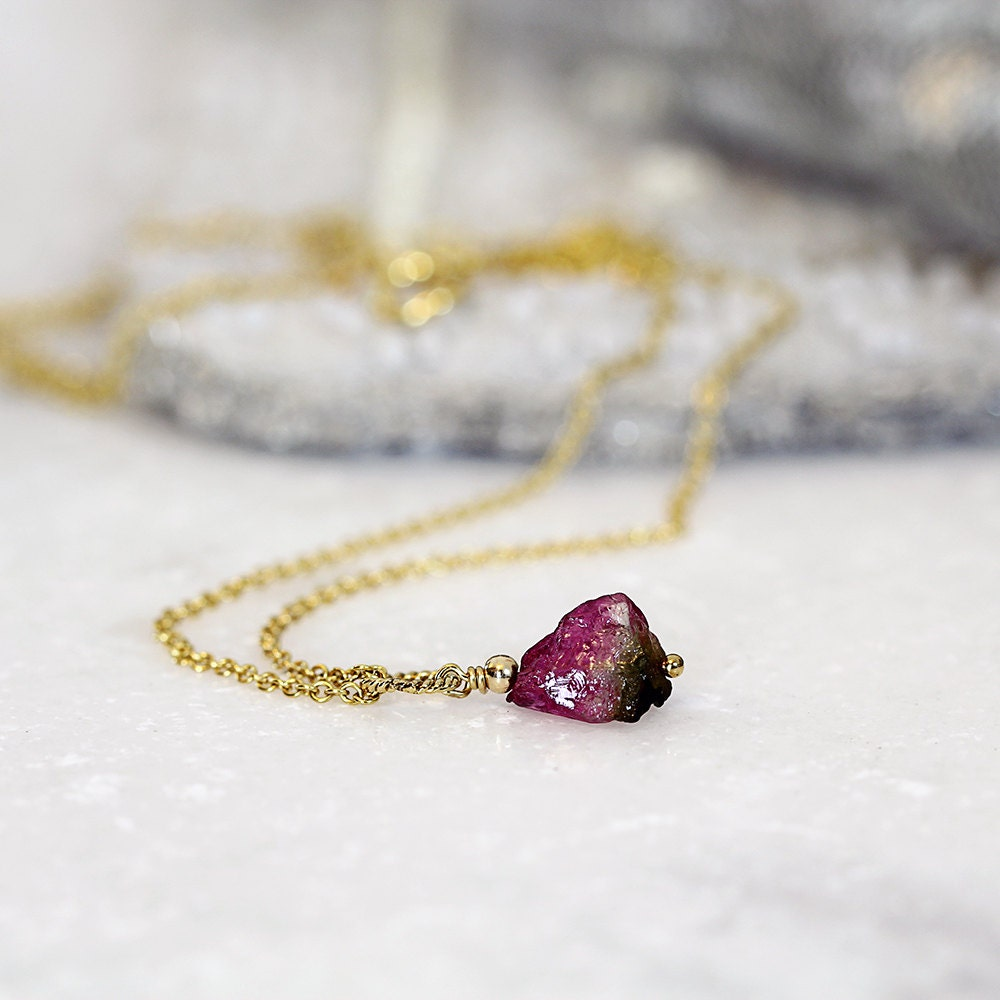 Watermelon Tourmaline Pendant - Raw Stone Necklace - October Birthstone Necklace - Raw Tourmaline Necklace - Tiny Stone Necklace