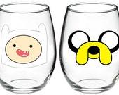 Set of 2 Jake and Finn Adventure Time Inspired 15 oz stemless wine glass